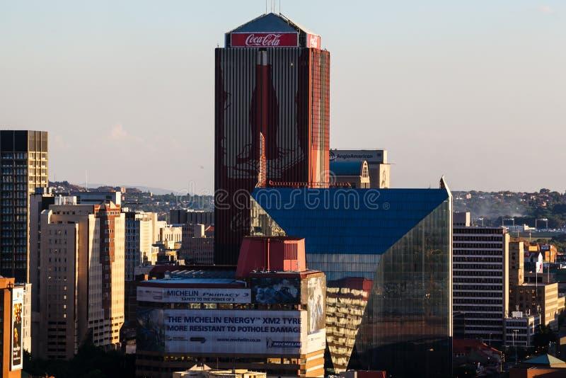 Schließen Sie herauf Detail von Wolkenkratzern in im Stadtzentrum gelegenem Johannesburg lizenzfreie stockfotos
