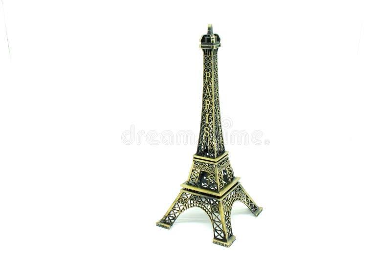 Schließen Sie herauf die Architektur des Eiffelturmmodells lokalisiert auf weißem Hintergrund stockfotos