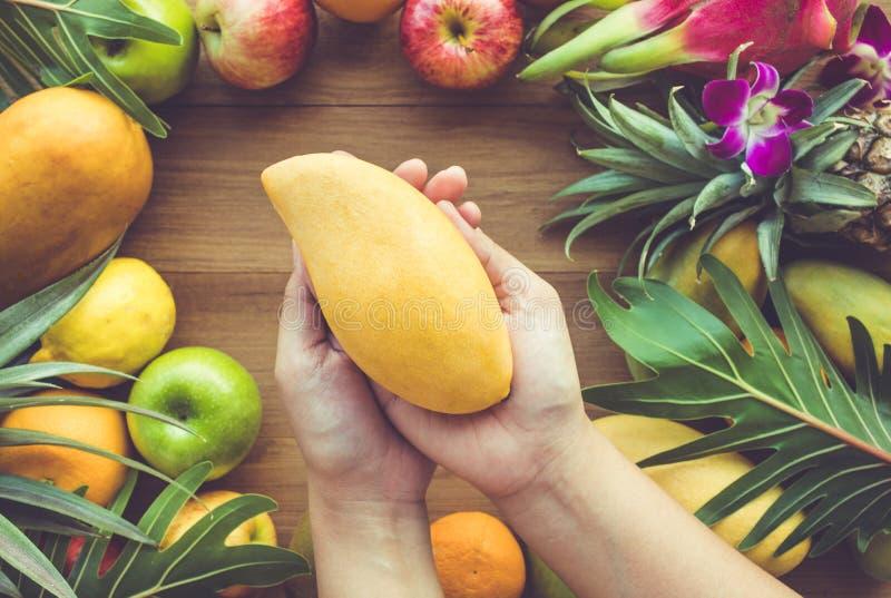 Schließen Sie herauf die weibliche Hand, die gelbe Mango auf Gruppe Früchten hält stockfotos