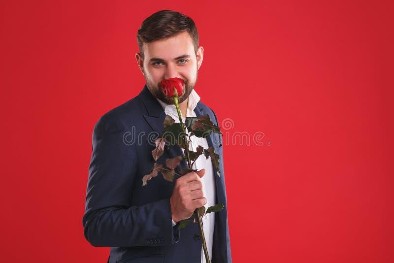 Schließen Sie herauf Foto des glücklichen lächelnden Geschäftsmannes mit Rotrose lizenzfreies stockbild