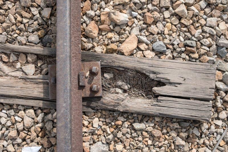 Schließen Sie herauf Foto von Bahngleisen an Konzentrationslager Auschwitz Birkenau lizenzfreie stockfotografie