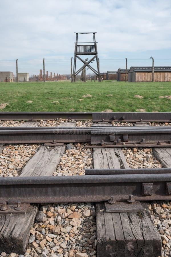 Schließen Sie herauf Foto von Bahngleisen an Konzentrationslager Auschwitz Birkenau, mit Sicherheitsturm hinten lizenzfreie stockbilder