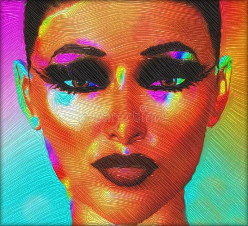 Schließen Sie herauf Gesicht 3d des digitalen ART Modells, Ölfarbeeffekt lizenzfreie abbildung