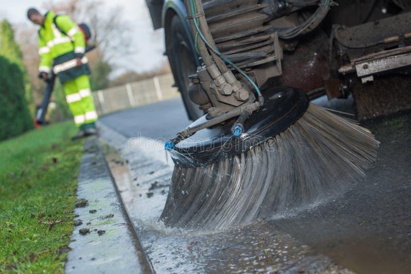 Schließen Sie herauf LKW-Reinigungsstraße lizenzfreie stockfotos