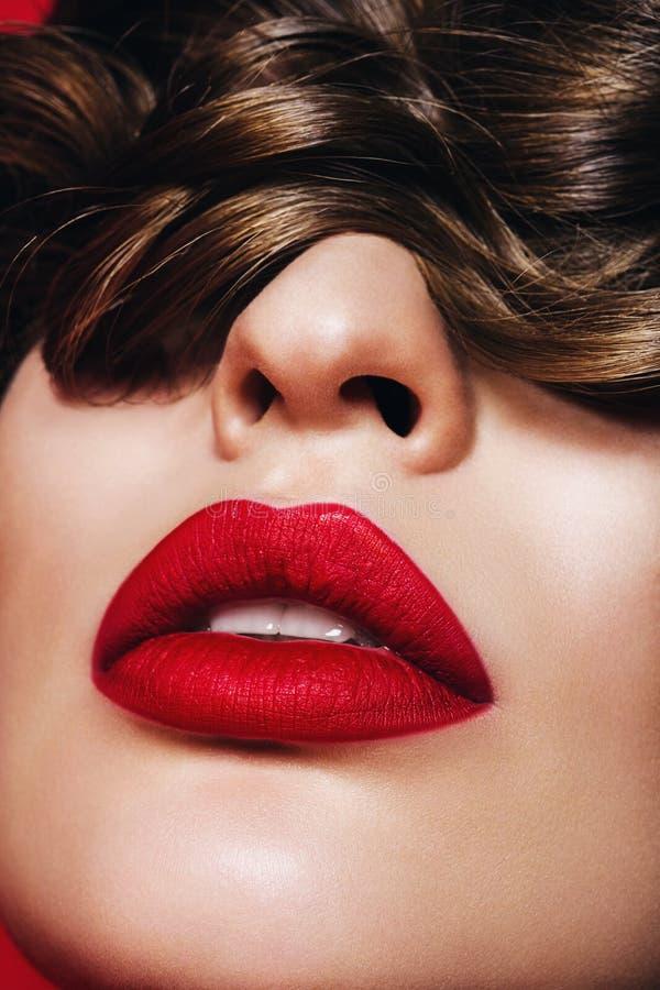 Schließen Sie herauf Porträt der Frau mit den leidenschaftlichen Lippen stockfoto
