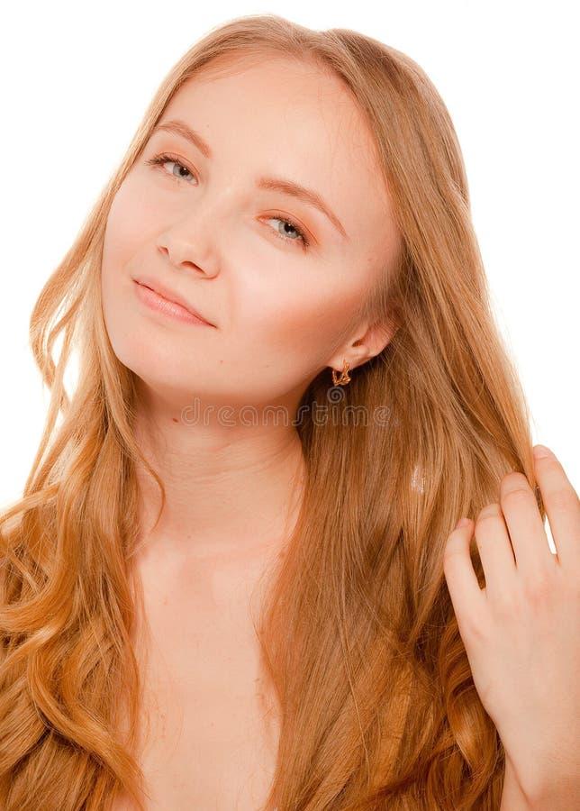 Schließen Sie herauf Porträt der schönen jungen Frau stockbilder