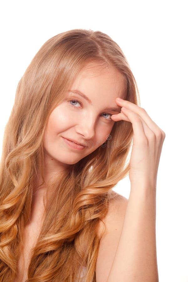 Schließen Sie herauf Porträt der schönen jungen Frau stockfoto