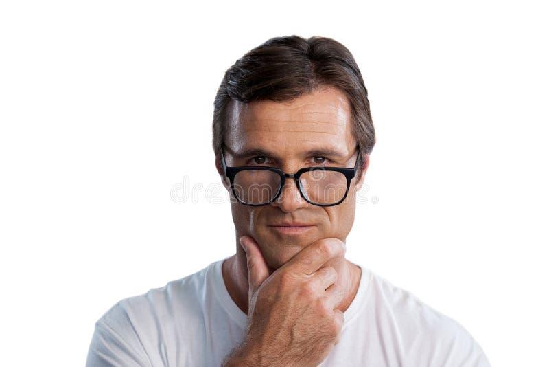 Schließen Sie herauf Porträt des reifen Mannes mit der Hand auf Kinn lizenzfreie stockfotografie