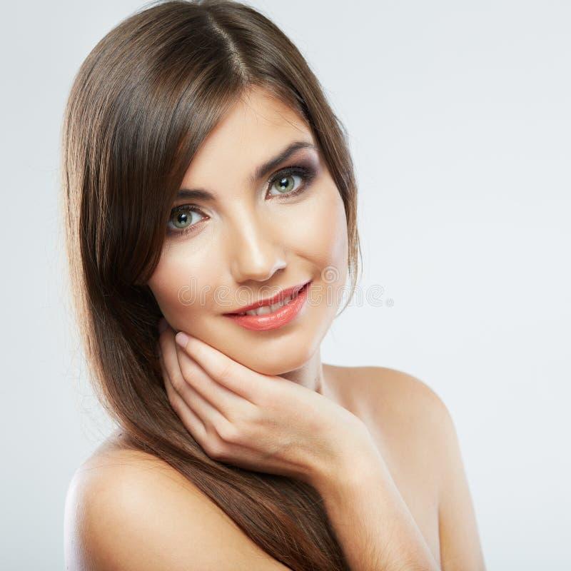 Schließen Sie herauf Porträt des schönen Gesichtes der jungen Frau Getrennt stockfotografie