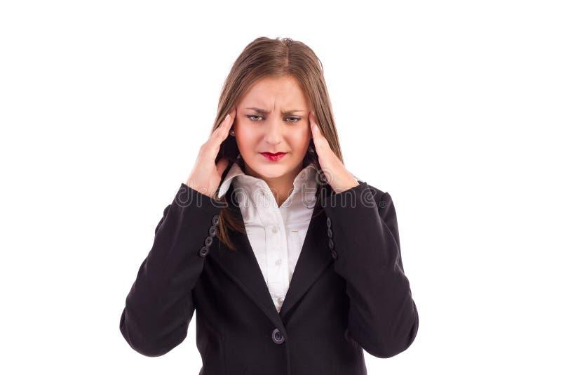 Schließen Sie herauf Porträt einer recht jungen Geschäftsfrau mit headach stockbilder