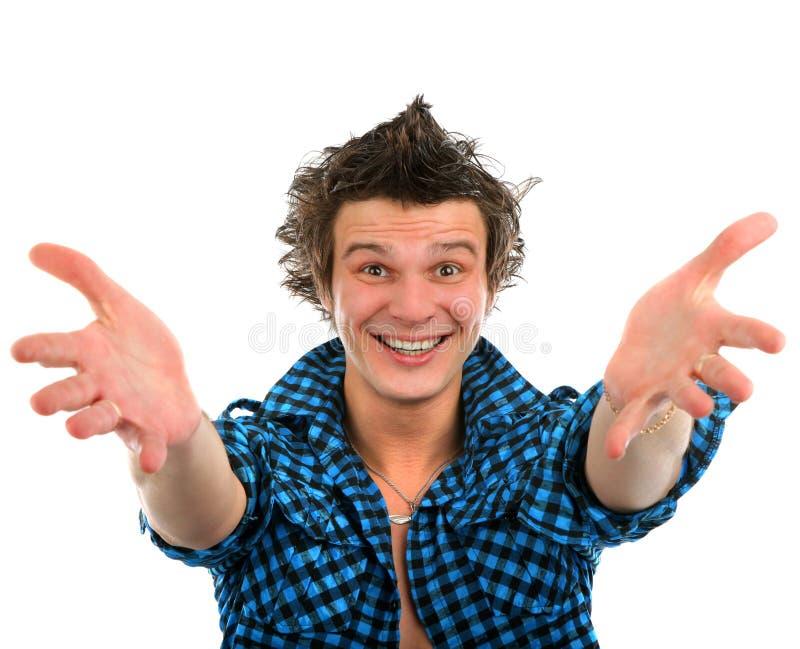 Schließen Sie herauf Porträt eines jungen glücklichen Mannes des schönen Lächelns, der w zeigt lizenzfreie stockfotografie