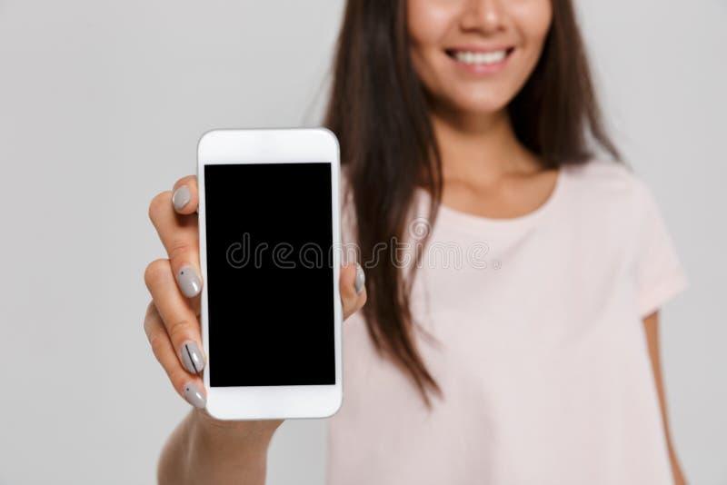 Schließen Sie herauf Porträt von lächeln recht asiatische Frau lizenzfreie stockfotografie