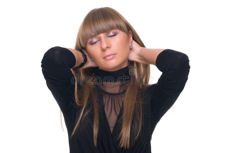Schließen Sie herauf Portrait der jungen träumenden Geschäftsfrau stockfotos