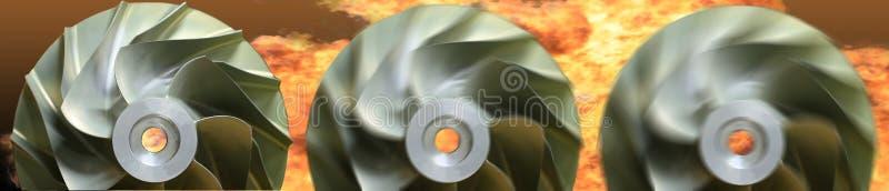 Schließen Sie herauf Strahlung der Flächen-, Gasmotortechnologie, der Turbinentechnologie für Maschine oder des Generators lizenzfreie stockfotos
