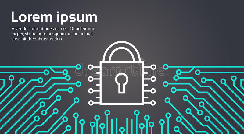 Schließen Sie Netz-Daten-Schutzsystem-Konzept-Fahne zu stock abbildung