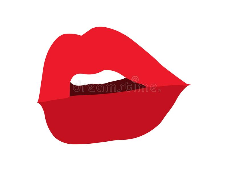 Schließen Sie oben über schwarzem Hintergrund Reizvolle Lippen Rote Lippen stock abbildung
