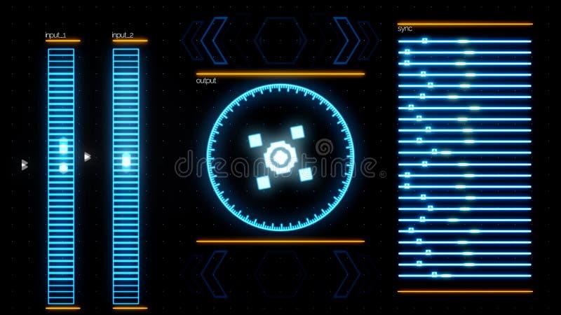 Schließen Sie oben für Indikatoren des laufenden Computerprogramms, abstrakter digitaler Hintergrund Animaton Laptopfunktionsanwe lizenzfreie abbildung