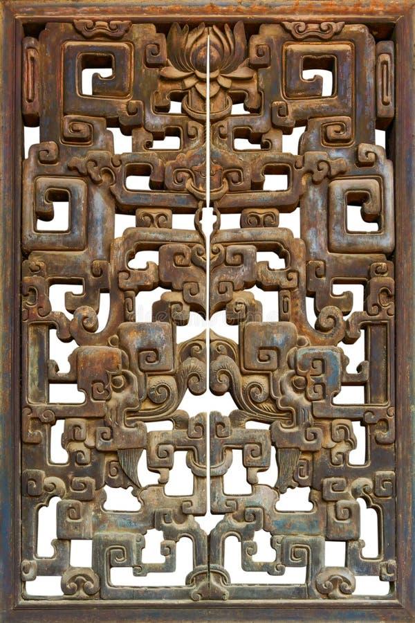 Schließen Sie oben vom alten hölzernen chinesischen Fenster lizenzfreie stockfotos