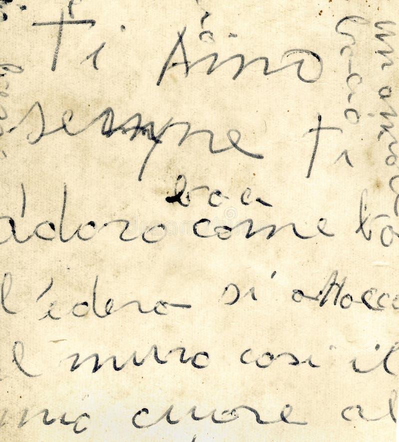 Schließen Sie oben vom alten italienischen Buchstaben stockbild