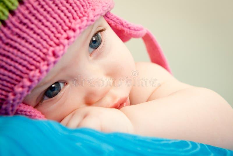 Schließen Sie oben vom Babygesicht stockbilder