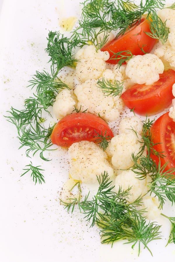 Schließen Sie oben vom Blumenkohlsalat stockfotos