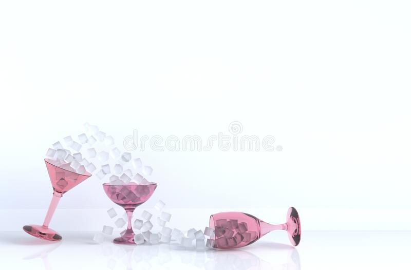 Schließen Sie oben vom Eiswürfel im Weinglas, das auf Hintergrund für Nahrung und Getränk sich neigt vektor abbildung