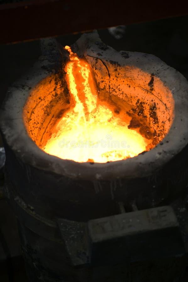 Schließen Sie oben vom flüssigen Metall stockfotografie