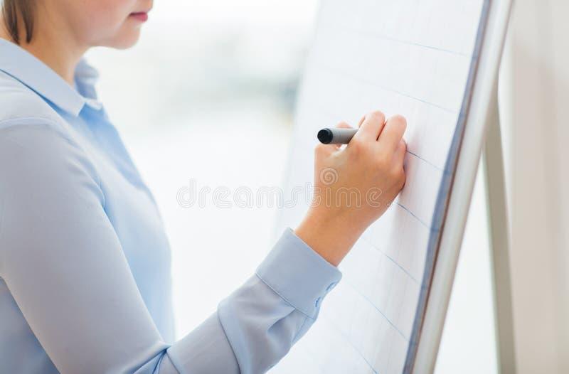 Schließen Sie oben vom Frauenschreiben etwas auf Flip-Chart stockfoto