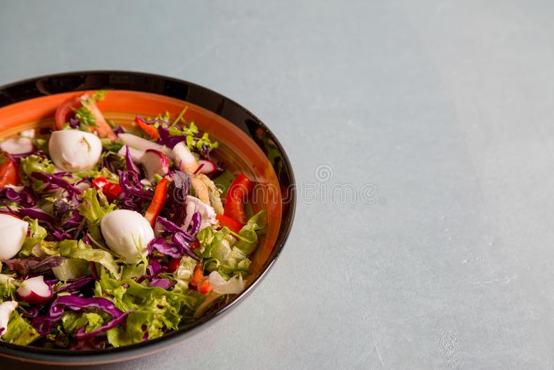 Schließen Sie oben vom frischen Salat des Kopfsalates, des Rettichs, der Tomate und des mozarella Käses auf Platte für gesunde Er lizenzfreie stockfotos