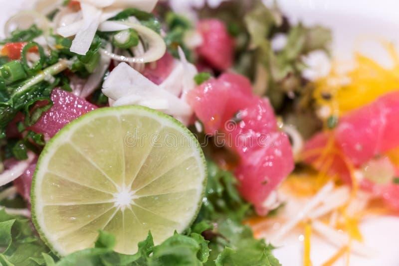 Schließen Sie oben vom gemachten Hauptthunfisch und vom wohlschmeckenden frischen Lachssalat lizenzfreies stockbild