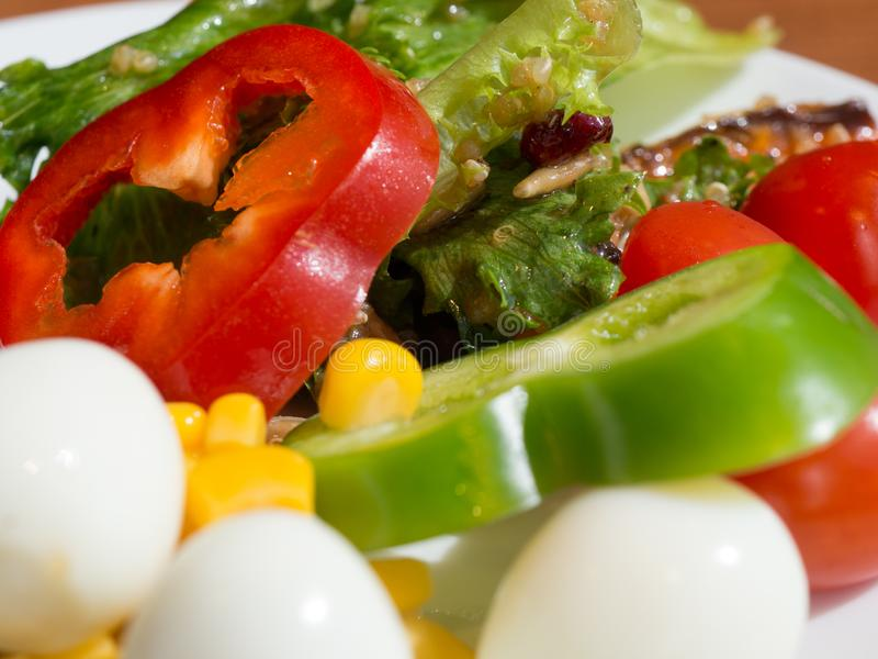 Schließen Sie oben vom gesunden Frischgemüsesalat Bunter Gemüsesalat Gelber Mais, grüne Bohnen, rote Tomaten und grüner Pfeffer,  stockbilder