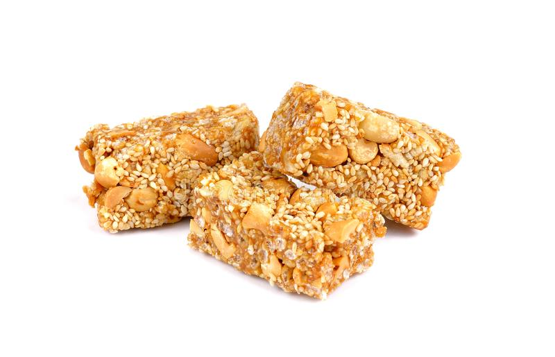 Schließen Sie oben vom Getreidemüsliriegel Gesunder natürlicher Snack lizenzfreie stockfotografie