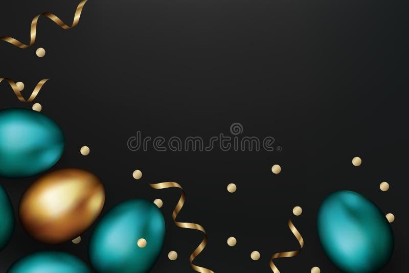 Schließen Sie oben vom Gold und von blauen Ostereiern auf dunklem Hintergrund Bunte Eier Ostern mit goldenem Serpentinen- und Kon stock abbildung