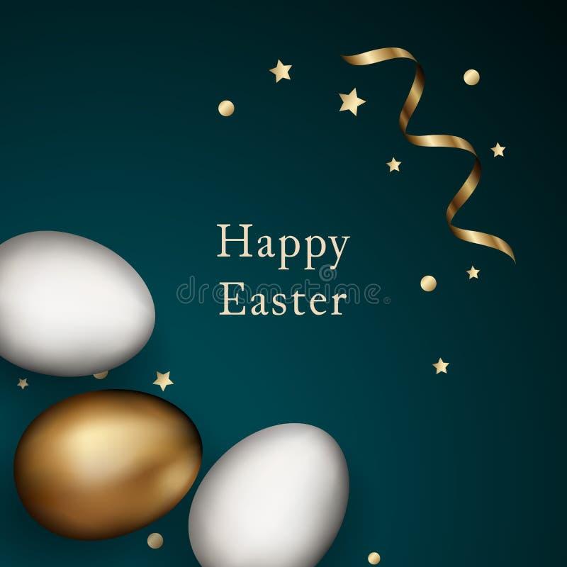 Schließen Sie oben vom Gold und von weißen Ostereiern auf dunklem Hintergrund Weiße und goldene Eier Ostern mit Goldserpentin und stock abbildung