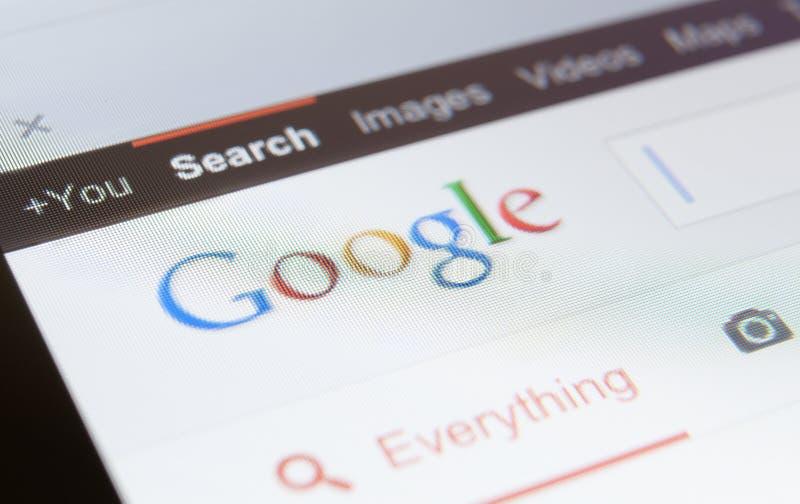 Schließen Sie oben vom Google-Seitenschirmschuß lizenzfreie stockfotografie