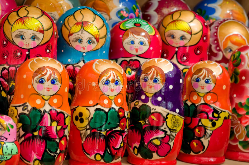 Schließen Sie oben vom handgemachten russischen matryoshka stockfotografie