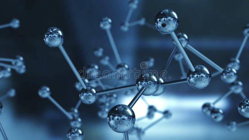 Schließen Sie oben vom Molekülstrukturmodell Abbildung 3D lizenzfreie stockbilder