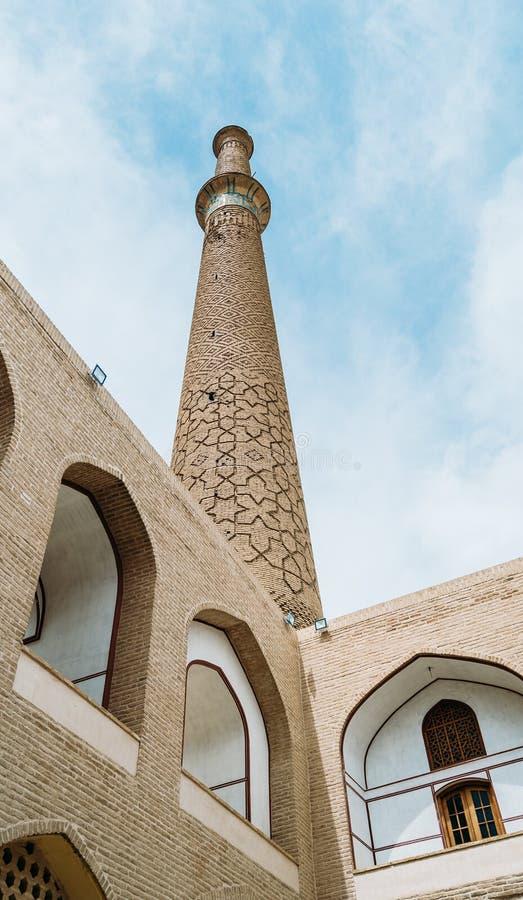 Schließen Sie oben vom Moscheen-Minarett in der Stadt von Isfahan, der Iran lizenzfreies stockbild