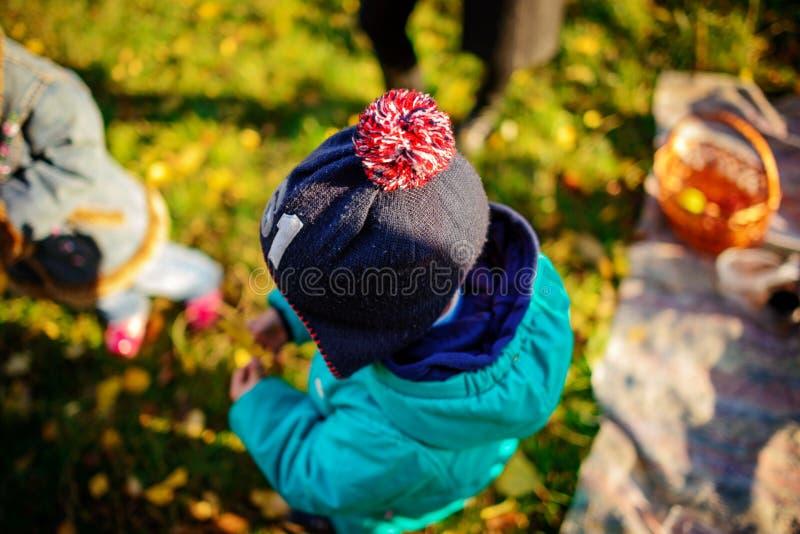 Schließen Sie oben vom netten neugierigen kleinen Jungen mit gelbem Blatt in einer Kappe Herbst lizenzfreies stockfoto