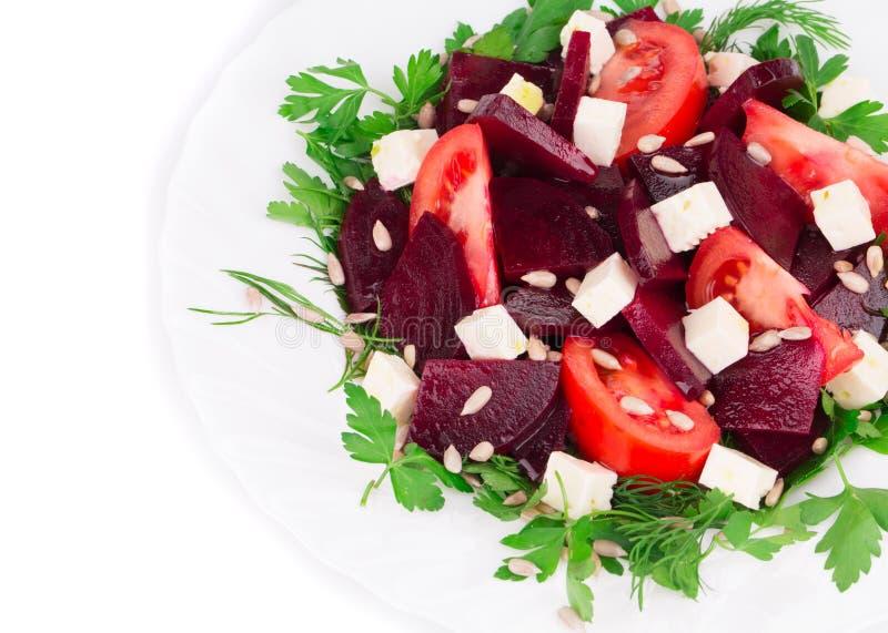 Schließen Sie oben vom Salat der roten Rübe stockbild
