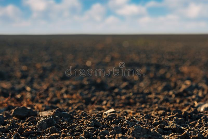 Schließen Sie oben vom vor kurzem gepflogenen Ackerlandboden lizenzfreie stockbilder