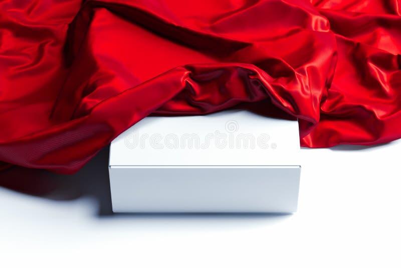 Schließen Sie oben vom weißen leeren Kasten unter rotem Stoff auf weißem Hintergrund Wiedergabe 3d lizenzfreie abbildung
