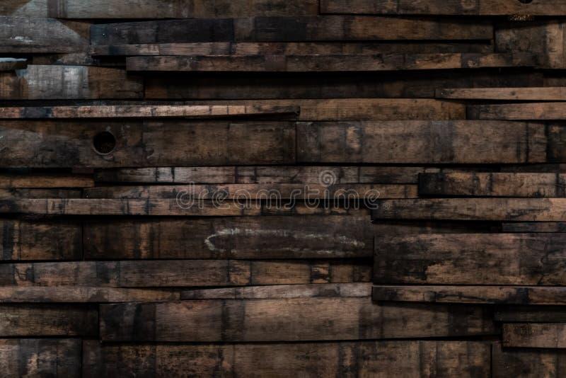 Schließen Sie oben von Bourbon-Fass Stave Wall lizenzfreie stockbilder