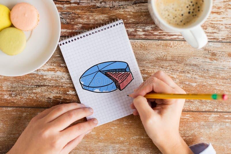 Schließen Sie oben von den Händen, die Diagramm im Notizbuch zeichnen stockfotografie