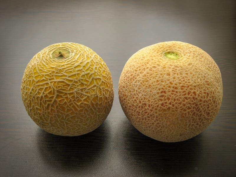 Schließen Sie oben von den verschiedenen frischen Melonen auf schwarzem Holztisch im Frühjahr Weiße Melone und Kantalupe lizenzfreies stockbild