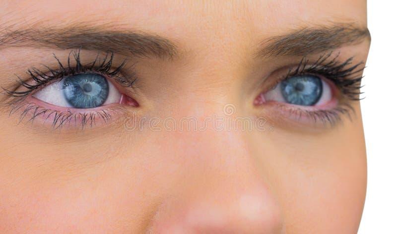 Schließen Sie oben von den weiblichen blauen Augen stockfotos