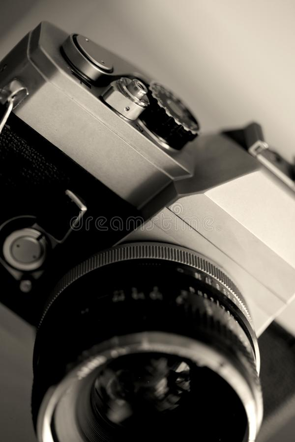 Schließen Sie oben von der alten Weinlesephotographiekamera lizenzfreies stockfoto