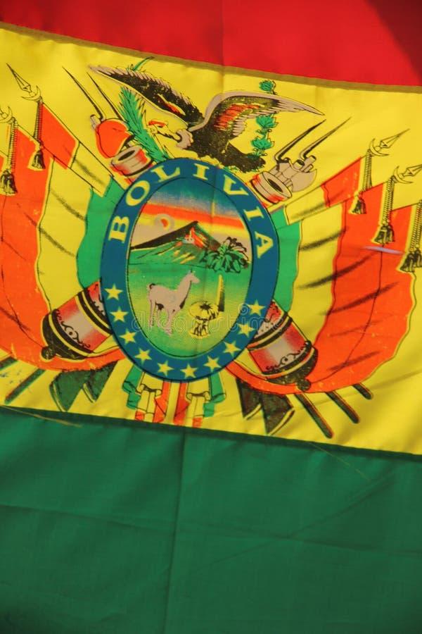 Schließen Sie oben von der bolivianischen Flagge stockfoto