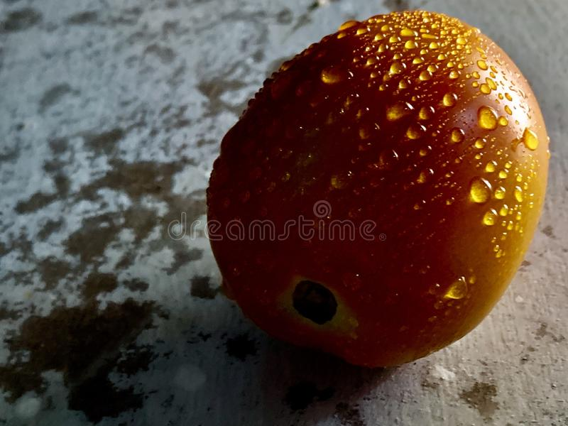 Schließen Sie oben von der frischen roten Tomate mit Wassertropfen auf rustikalem Hintergrund, Nahrungsmittelphotographie lizenzfreies stockbild