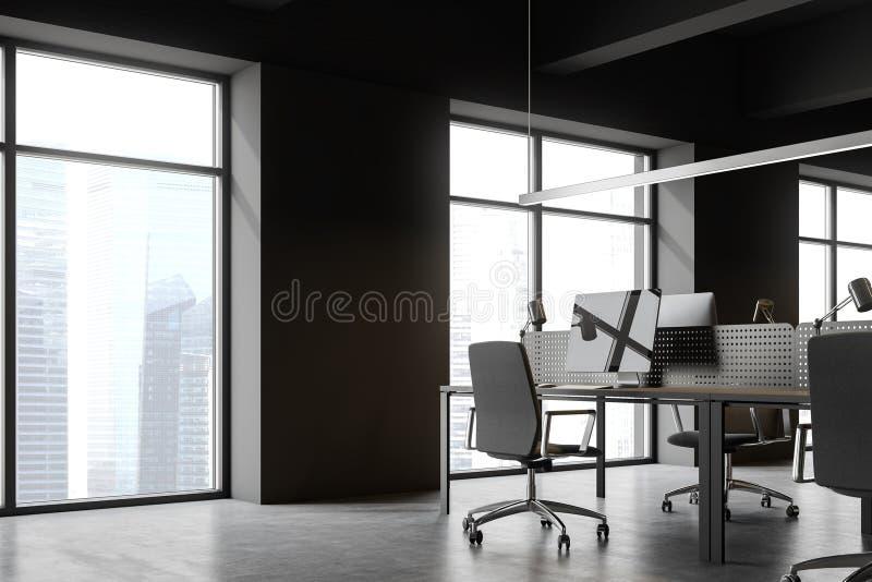 Schließen Sie oben von der grauen Büroecke des offenen Raumes stock abbildung